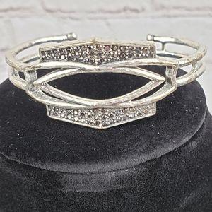 Lucky Brand Gray Crystal Stone Cuff Bracelet